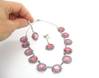 Art Deco Necklace Set. Rose Pink Czech Glass. Rhodium Silver Filigree. Dangle Screwback Earrings. Vintage 1930s Art Deco Antique Jewelry.