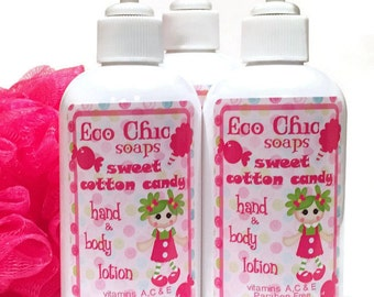 Cotton Candy Hand & Body Lotion - Handmade Lotion - Natural Lotion - Hand Lotion - Body Lotion - Paraben FREE - Vitamins A - D - E - 8 oz
