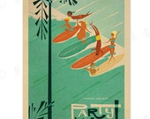 Canoes Waikiki Party Wave - 12 x 18 Retro Hawaii Print