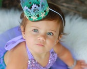 Mermaid Starfish    ombre lavender mint aqua    silver or gold starfish    MINI lace crown headband   photo prop    WASHABLE