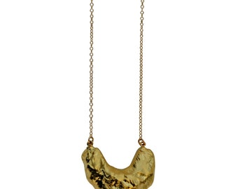 JAWS necklace - long - gold shark tooth