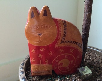 cat shaped Indian leather piggy/coin bank
