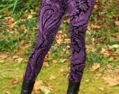 Ladies Metallic Purple Paisley Velvet Leggings - pick your size