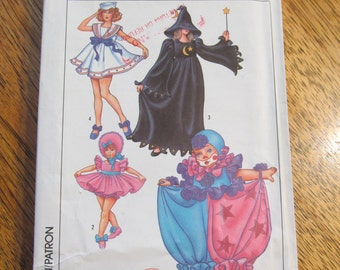 CUTE Kids Costumes - Shirley Temple, Witch, Sailor, Baby Doll, Clown - Child's Size (6 - 8) - UNCUT Vintage Sewing Pattern Simplicity 8834