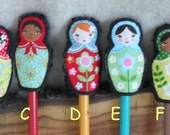Kokeshi Doll Stick Puppet or Pencil Topper Matryoshka style (choose 3) Cyber Sale buy 2 offer