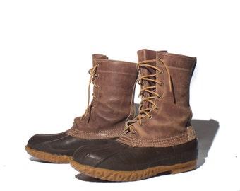 8 D |1960's Vintage L.L. Bean Duck Boots 8 Eye Boots Dark Brown Leather Cursive Signature Label