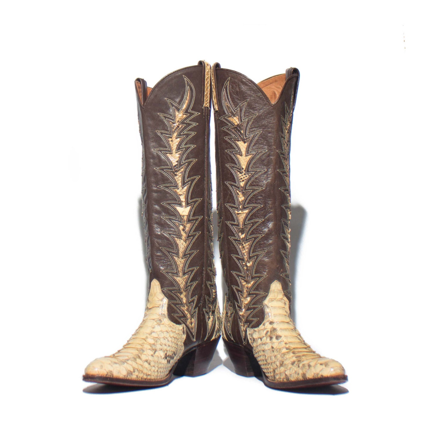 7 a s dan post snakeskin inlay western boots