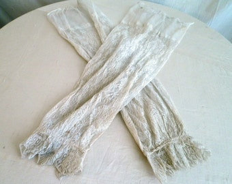 Edwardian Lace Antique Lace Sleeves  Use for Up-cycling or wear as Fingerless Gloves