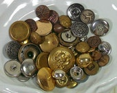 Vintage Variety of Brass & Silver Metal Buttons Collection - Buttons for Repurposing Upscaling Upcycling - 40 Buttons