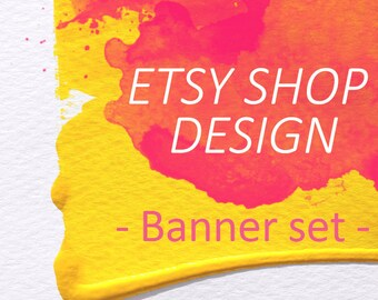 Etsy banner, Watercolor banner, Fresh Watercolor Paint modern Shop theme, Cover photo