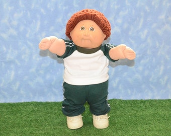"""Cabbage Patch Clothes - Handmade for 16"""" - 18"""" Boy Dolls - Emerald Green Sweats Outfit"""