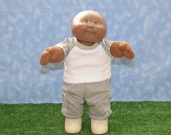 "Cabbage Patch Doll Clothes - Handmade for 16"" - 18"" Boy Dolls - Grey Sweats Outfit"