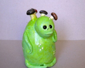 Polymer Clay Figurine - Little Green Swamp Monster - Akke The Silent Watcher - Halloween Decor - Green Monster Sculpture - OOAK