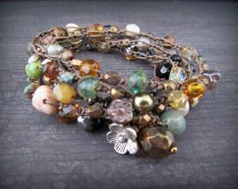 Rustic Earthy Crochet Wrap Bracelet Necklace, Czech beads, semi precious gemstones, Boho Hippie Chic