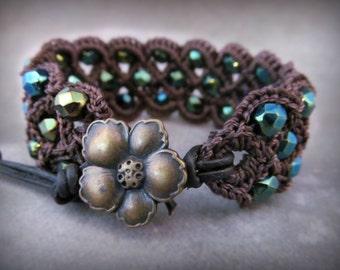 Peacock Blue Crochet Cuff Bracelet, Bohemian Boho Style, dark brown leather,