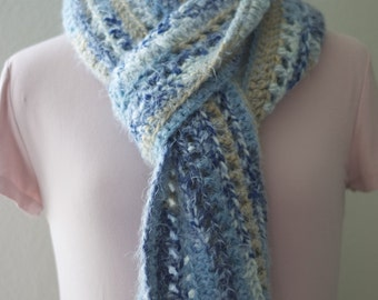 Blue & Taupe Wool Scarf