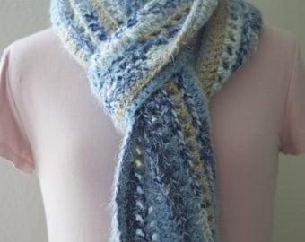 Cornflower Blue, Sapphire Blue, Cream and Taupe Mohair Wool Scarf, Warm Winter Scarf, Soft Wool Scarf