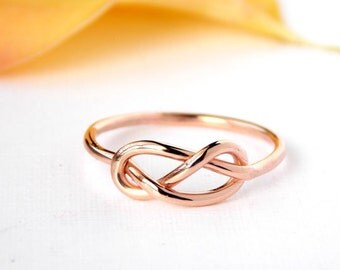 Rose Gold-filled Infinity Knot Ring: 14K Gold-filled ring, gold filled ring, love ring, love knot, promise ring, friendship ring, bridesmaid