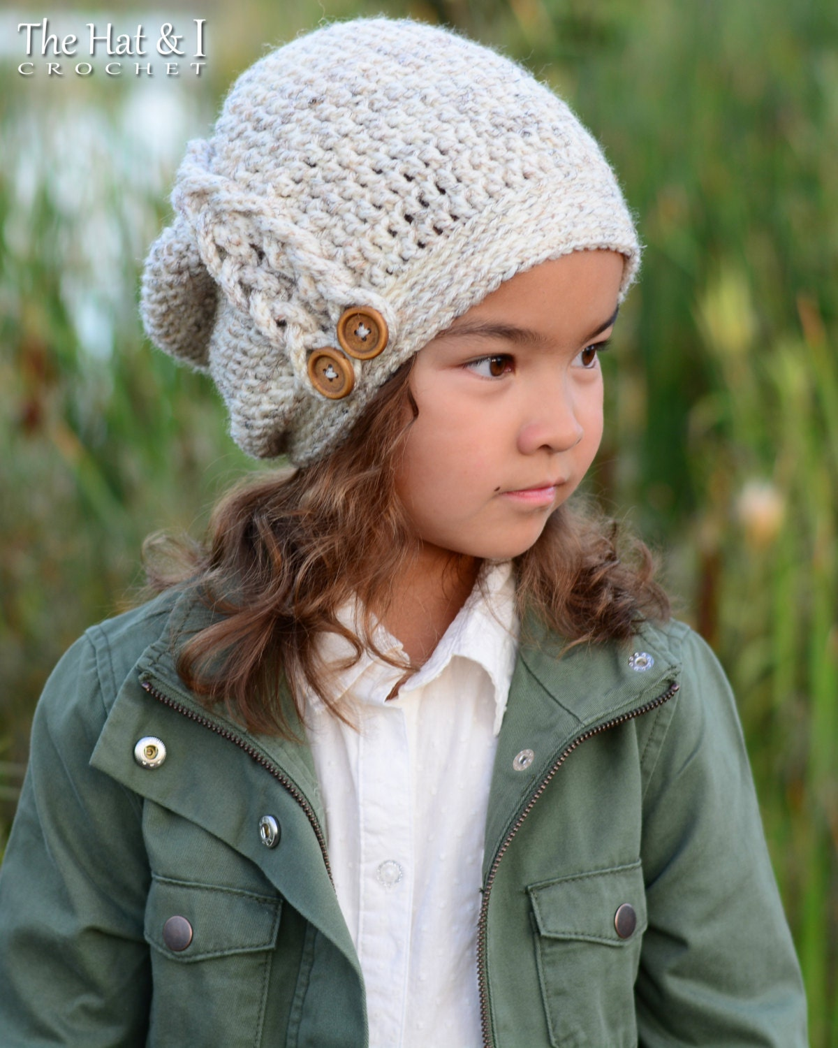 Crochet pattern buttons braids slouchy crochet slouchy hat this is a digital file bankloansurffo Gallery