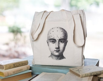 Phrenology Number Head Illustration Tote, Organic Cotton Canvas Bag, Eco Tote, Anatomy illustration, Human Head tote, Market Tote