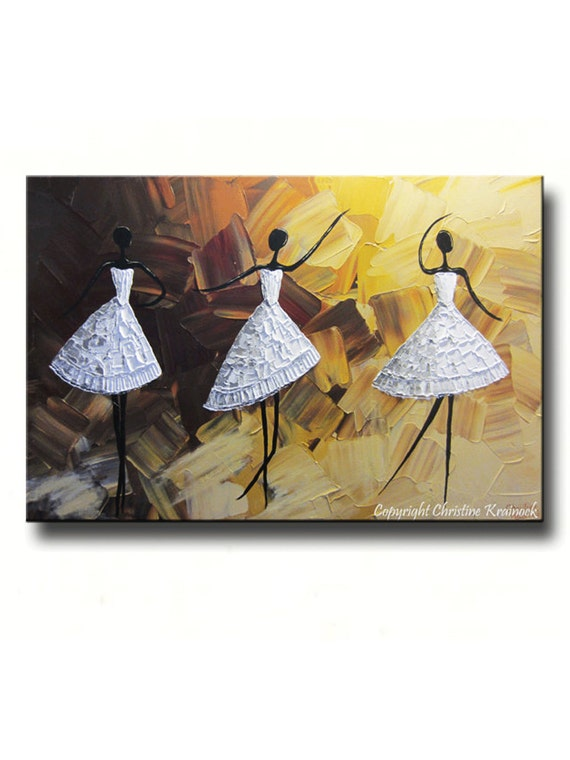 Original Art Abstract Dancer Painting White Textured Palette