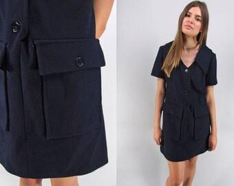 Vintage 60s Mod Shift Dress, Scooter Dress, Mod Mini Dress, 60s Youthquake Dress, Wool Shift Dress Δ size: md