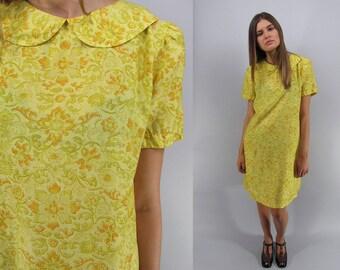 Vintage 60s Mod Shift Dress, Silk 60s Dress, Floral Dress, Peter Pan Collar, 60s Floral Dress, Sack Dress, A-line Dress Δ size: sm / md
