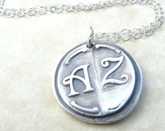 Christmas personalized necklace wax seal pendant jewelry in first and last initials, custom made to order