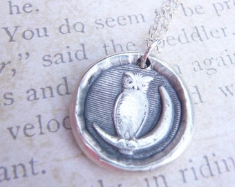 Owl wax seal necklace pendant made from recycled silver, made to order