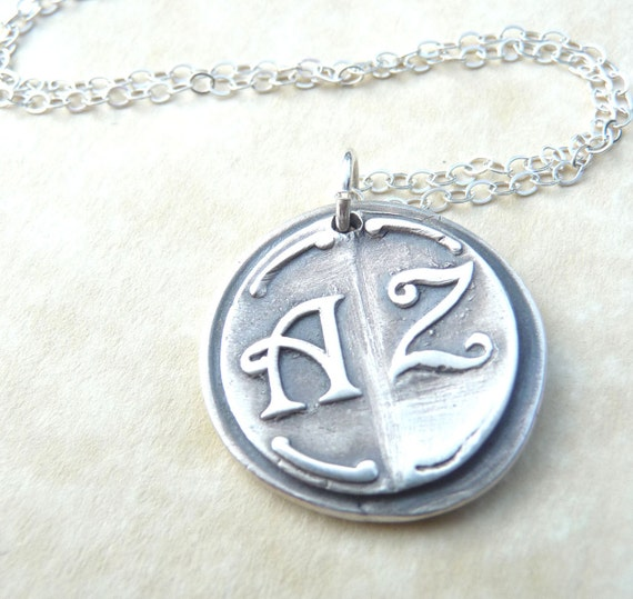 Personalized necklace wax seal pendant jewelry in first and last initials, custom made to order