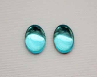 Aqua Blue 14x10mm Oval Czech Glass Preciosa Cabochon Flat Back Jewels - 4pcs