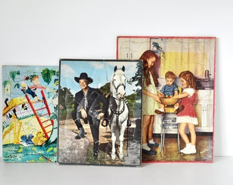 Three Vintage Jigsaw Puzzles Hopalong Cassidy Walzer BuiltRite