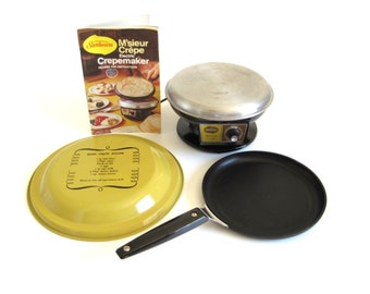 Sunbeam M'sieur Crepe Electric Crepe Maker Base & Dipping Pan 1970s Kitchen Small Appliances