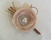 Wedding boutonniere,Rustic Fabric boutonniere,Champagne Boutonniere,Grooms flower,Wedding accessory, Woodland boutonniere, YOUR CHOCIE COLOR