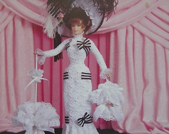 Paradise Publications Crochet Collector Costume Fashion Doll Pattern 1910 Ascot Dress Volume 23
