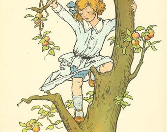 Vintage 1927 Children's Print  Young Child Climbing Apple Tree Tears  Blue Spotted Shirt Girl Red Hair Book Plate Book Illustration