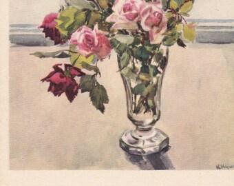 "K. Kupetsio ""Roses"" Postcard -- 1954"