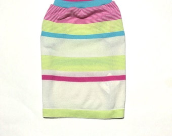 Designer Dog Sweater, Small Pink and Green Striped Handmade Pet Puppy Apparel Clothes 0010