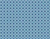 20 x 20 LAMINATED cotton fabric yardage - Mod Mini Circles Blue (aka oilcloth, coated vinyl)