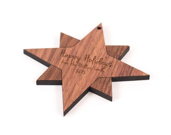 personalized star wooden ornament -  custom Christmas gift for child or family - keepsake Christmas gift with organic finish