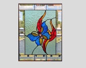 Beveled Stained glass panel window butterfly blue stained glass window panel flower window hanging suncatcher 0066