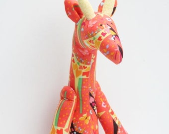Stuffed giraffe plush softie cute giraffe toy bright orange yellow toy for little children for girl boy birthday gift baby shower