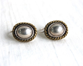 Mixed Metal Drop Earrings Vintage Mexican Sterling Silver and Brass Dome Everyday Earrings Taxco Mexico Dangles