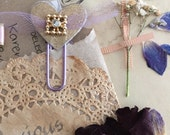 Diamonte Heart Gold Glitter and Lilac Tulle Planner/Journalling Paper Clips - set of 5