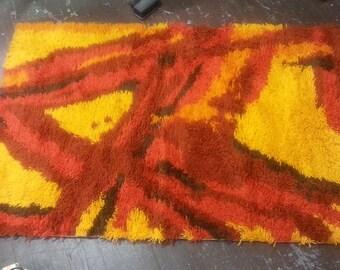 Modernist Rug, Mid Century Danish Rya Rug, Abstract, Floor Covering, 100% Wool, MCM, Shag Red Orange Yellow Funky (B0022)