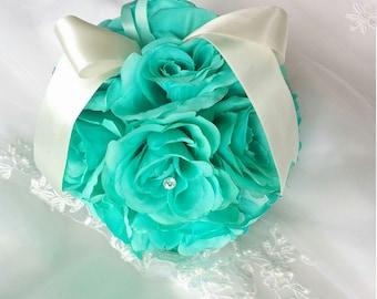 aqua silk wedding flowers