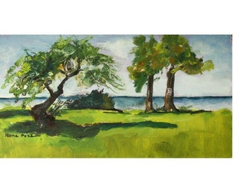 "original oil painting, ""At the lake"", landscape oil painting, Rona Poss"