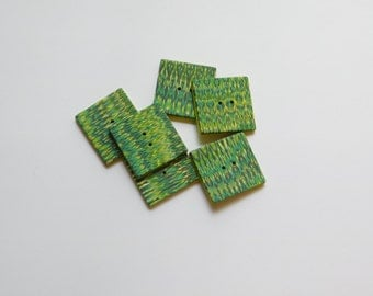 1 inch Square Polymer Clay Buttons, 25 mm green patterned handmade buttons