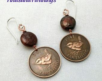 WREN BIRD earrings - English - songbird - bird earrings - wren farthing earrings - bird lover gift - sparrow chickadee Swallow Robin oiseau