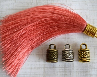 Coral Silky Tassel Pendant -90mm- Assorted Tassel Cap Finishes - Handmade Jewelry Supply - 1 Piece (SK414)